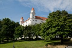 Reconstructed Bratislava Castle and park - Slovakia Royalty Free Stock Image