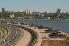 Reconstructed embankment, river and city. Kazan, Russia. 26-05-2018 Stock Image