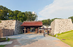 Reconstructed gates of Toyama castle in Toyama, Japan. Reconstructed yakuimon type gates and stone walls of Toyama castle. Castle was founded in 1543 by Jinbo Stock Photo