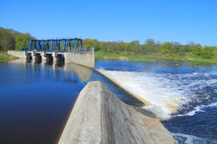 The reconstructed German dam and locks on the river Stock Photo