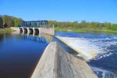 The reconstructed German dam and locks on the river to Sheshupa Royalty Free Stock Images
