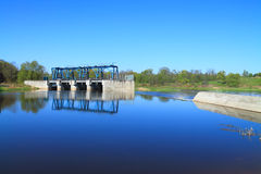 The reconstructed German hydraulic engineering construction on the river Royalty Free Stock Photos