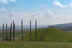 Reconstructed grave hill in the park of the Celtic world on the Glauberg, Hesse, Germany Royalty Free Stock Photos