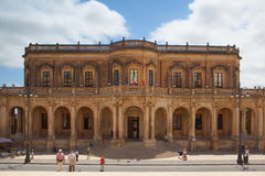 Reconstructed historical building in Noto Stock Photos