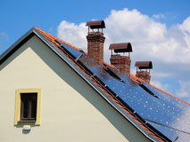 Reconstructed house with solar panels Royalty Free Stock Photography