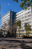 Reconstructed industrially produced GDR residential house. Used as a student dorm stock images