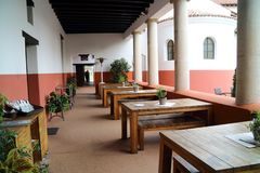 The reconstructed inn with restaurant and dishes from Roman times. In Xanten German stock photos