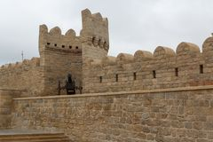 Reconstructed medieval walls of Baku. Azerbaijan Stock Images