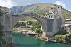 Reconstructed Old Bridge of Mostar in Bosnia Herzegovina Stock Image