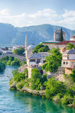 Reconstructed Old Bridge of Mostar on river Neretva. Bosnia and Stock Photos