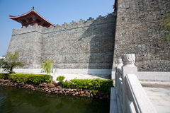 Reconstructed part of the old Chinese fortress Stock Images