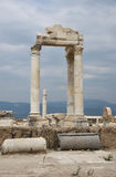 Reconstructed part of temple, Laodikeia. Reconstructed part of ancient temple of Apollo with columns in archaic Laodikeia city at the Denizli Province, Turkey Royalty Free Stock Image