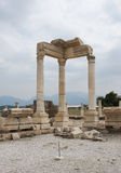 Reconstructed part of temple, Laodikeia. Reconstructed part of ancient temple of Apollo with columns in archaic Laodikeia city at the Denizli Province, Turkey Royalty Free Stock Photos