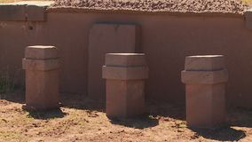 Reconstructed Pillars At Tiwanaku, La Paz Bolivia