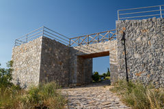 Reconstructed Roman camp near Bay of bones on Ohrid lake Stock Photo