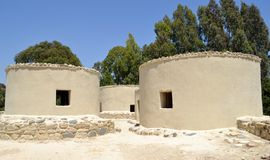 Reconstructed structures with trees. And blue sky Stock Images