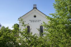 Reconstructed synagogue in Hermanuv mestec in Czech republic dated from the seventeenth century. Sunny day, blue sky and greenery royalty free stock photo