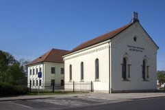 Reconstructed synagogue in Hermanuv mestec in Czech republic dated from the seventeenth century. Sunny day, blue sky royalty free stock image