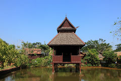 Reconstructed traditional Thai style buildings Stock Images
