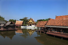 Reconstructed traditional Thai style buildings. In Ancient city, Bangkok.Ancient city is the world`s largest outdoor museum and popular tourist spot Stock Images