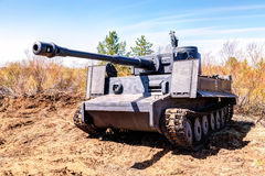 Reconstructed vintage German Tiger tank on the battle field in s Stock Photos