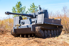 Reconstructed vintage German Tiger tank on the battle field in s Royalty Free Stock Images