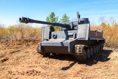Reconstructed vintage German Tiger tank on the battle field in s Stock Photography