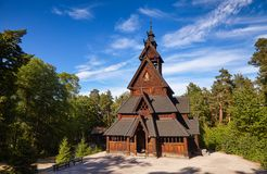 Gol Stave Church Folks museum Bygdoy peninsula Oslo Norway Scandanavia. Reconstructed wooden Gol Stave Church Gol Stavkyrkje in Norwegian Museum of Cultural stock images