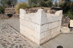 Reconstruction of an Altar, Tel Beer Sheva, Israel. Reconstruction of an altar made of stones at the Archeological National park Tel Beer Sheva, Israel royalty free stock photos