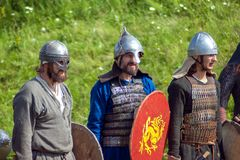 Reconstruction of ancient battles during the ethnographic festival Stock Photo