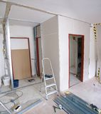 Reconstruction of apartment. Construction of new walls made ??of plasterboard in the apartment Stock Image