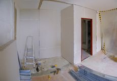 Reconstruction of apartment. Construction of new walls made of plasterboard in the apartment Stock Photo