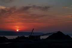 Reconstruction area at sunset Royalty Free Stock Photo