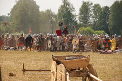Reconstruction of the battle of 10 century. Reconstruction of the 10 th century battle in the village Valischevo (Russia Stock Photo