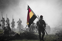 Reconstruction of the battle of Berchem (black & white) Royalty Free Stock Photography