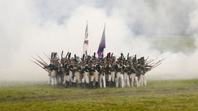 Reconstruction of the Battle of Borodino. Kare. Stock Photos