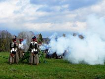 Reconstruction of the battle of Borodino. The troops of 1812 are fighting on the battlefield. Details and close-up. stock image