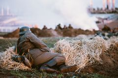 Reconstruction of Battle during events dedicated Stock Photo