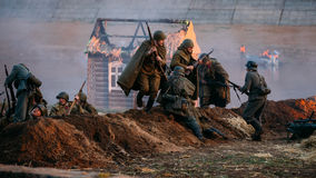 Reconstruction of battle for liberation of Mogilev. Stock Photos