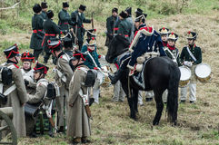Reconstruction of the battle of Russian and Napoleonic troops near the Russian city of Maloyaroslavets October 23, 2016. Royalty Free Stock Images