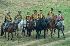 Reconstruction of the battle of Russian and Napoleonic troops near the Russian city of Maloyaroslavets October 23, 2016. Stock Photography