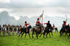 Reconstruction battle under Borodino Stock Photos