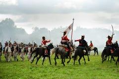 Reconstruction battle under Borodino Stock Photos