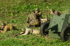 Reconstruction of battle of 1941 World war 2 in the Kaluga region of Russia. Stock Photos
