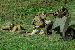 Reconstruction of battle of 1941 World war 2 in the Kaluga region of Russia. Stock Image