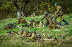 Reconstruction of battle of 1941 World war 2 in the Kaluga region of Russia. Stock Photography