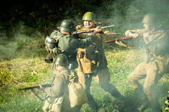 Reconstruction of battle of 1941 World war 2 in the Kaluga region of Russia. Royalty Free Stock Photo