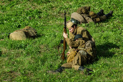 Reconstruction of battle of 1941 World war 2 in the Kaluga region of Russia. Royalty Free Stock Images