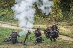 Reconstruction of battle of 1941 World war 2 between Nazi troops and cadets of the Podolsk military College. Stock Photos