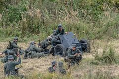 Reconstruction of battle of 1941 World war 2 between Nazi troops and cadets of the Podolsk military College. Stock Photography